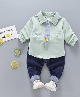 Lil Mantra Diagonal Pocket Shirt & Bottom Set With Smiley Design Detachable Tie - Green