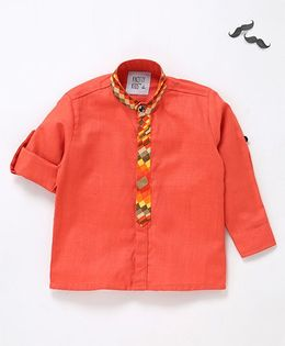 Knotty Kids Henley Collar Shirt - Orange