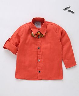 Knotty Kids Full Sleeve Shirt With Bow - Orange