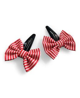 Knotty Ribbons Striped Bow Hair Clip - Red