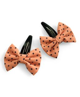 Knotty Ribbons Bow Hair Clip - Orange
