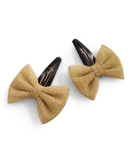 Knotty Ribbons Net Bow Hair Clip - Golden