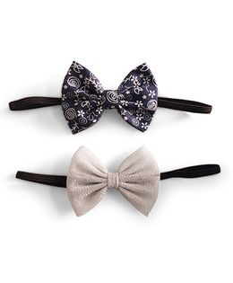 Knotty Ribbons Set Of Two Bow Headbands - Blue & Silver