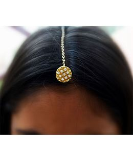 Pretty Ponytails Ethnic Maang tikka - Gold