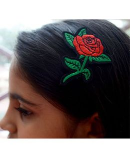 Pretty Ponytails Embroidered Rose Flower hair clip - red and green
