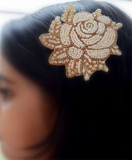 Pretty Ponytails Ethnic Zardozi Beaded Embroidered Rose Flower - White and Gold