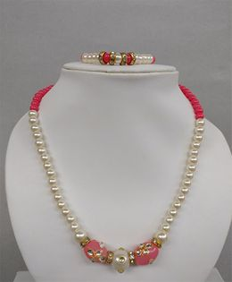 Tiny Closet Pearl Necklace & Bracelet Set - Pink & White