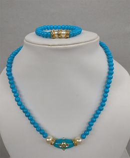 Tiny Closet Pearl Necklace & Bracelet Set - Turquoise