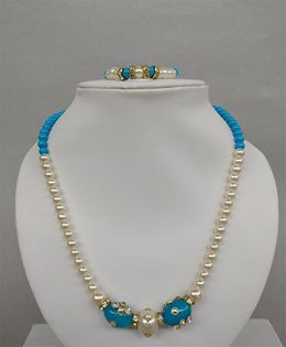 Tiny Closet Pearl Necklace & Bracelet Set - White & Blue