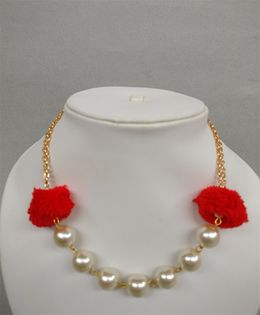 Tiny Closet Pom-Pom Pearl Necklace - Red