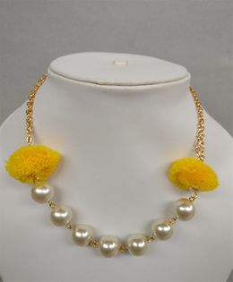 Tiny Closet Pom-Pom Necklace - Yellow