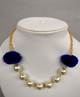 Tiny Closet Pom-Pom Pearl Necklace - Royal Blue