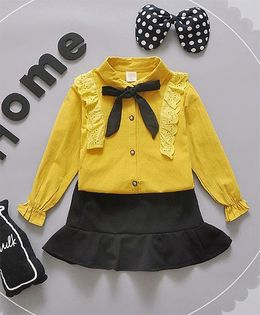 Lil Mantra High Neck Collar Tie Top And Skirt Set - Yellow & Black