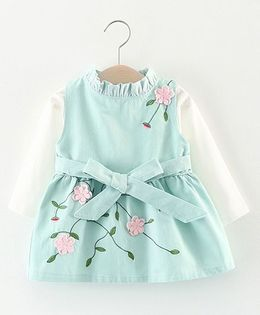 Pre Order - Lil Mantra Floral Ensemble In Embrodiery Dress - Green