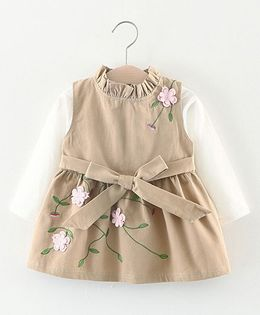 Pre Order - Lil Mantra Floral Ensemble In Embrodiery Dress - Beige