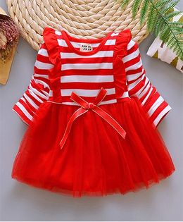 Pre Order - Lil Mantra Striped Dress - Red & White