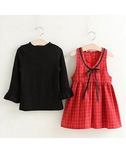 Pre Order - Lil Mantra Back To School Checks Knitted Top & Dress - Black & Red