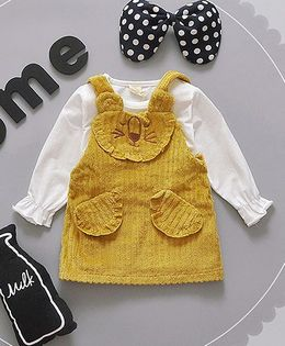 Pre Order - Lil Mantra Teddy Face Dress - Yellow