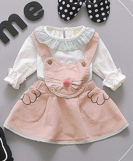 Pre Order - Lil Mantra Cat Face Dress - Peach & White