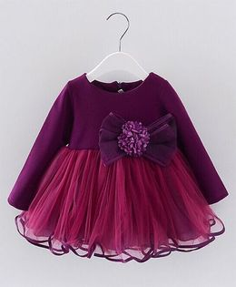 Pre Order - Lil Mantra Classic Dress With Bow Net - Purple
