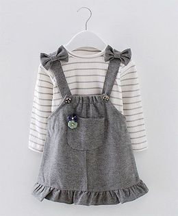 Pre Order - Lil Mantra Stripe Bow Suspender Style Dress With Top - Grey & White