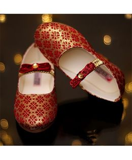 D'chica Mojri Meets Ballerinas Princess Shoes - Red & Gold