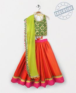 Kids Chakra Shaded Ghagra Choli Dupatta Set - Orange