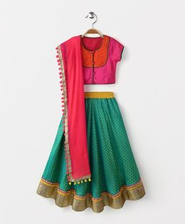 Kids Chakra Triangles Ghagra Choli Dupatta Set - Green