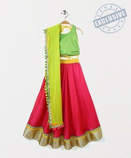 Kids Chakra Triangles Ghagra Choli - Pink