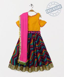 Kids Chakra Printed Ghagra Choli - Yellow