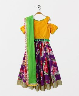 Kids Chakra Floral Ghagra Choli - Purple & Yellow