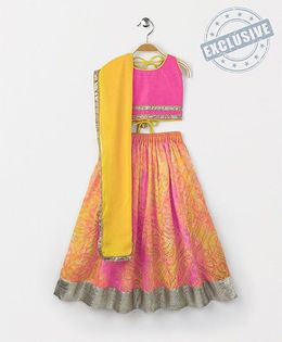 Kids Chakra Shaded Ghagra Choli - Yellow & Pink