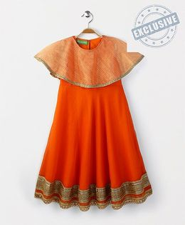 Kids Chakra Chanderi Kurta With Cape - Orange