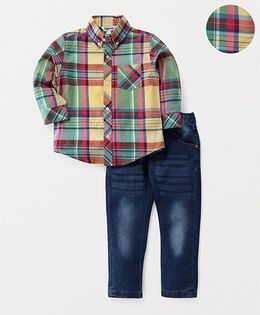 ToffyHouse Full Sleeves Checks Shirt & Jeans - Blue & Multi Color
