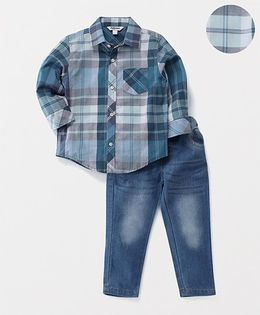 ToffyHouse Full Sleeves Checks Shirt & Jeans Set - Blue