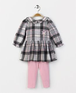ToffyHouse Full Sleeves Checks Frock With Leggings - Black Pink