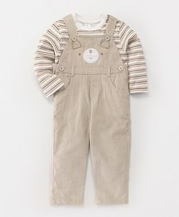 ToffyHouse Full Sleeves Tee With Corduroy Dungaree - Beige