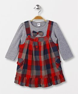 ToffyHouse Checks Frock With Inner Top Bow Applique - Red Grey