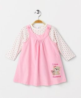 ToffyHouse Bear Embroidered Frock With Inner Top - Light Pink