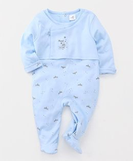 ToffyHouse Full Sleeves Footed Sleep Suit Airplane Print - Blue