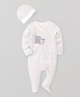ToffyHouse Footed Romper And Cap Set Bear Patch - White