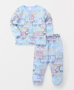 ToffyHouse Full Sleeves Night Suit Vehicle Print - Light Blue