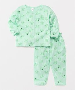 ToffyHouse Full Sleeves Night Suit Monkey Print - Light Green