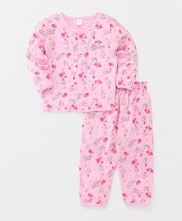 ToffyHouse Full Sleeves Night Suit Teddy With Ballon Print - Pink
