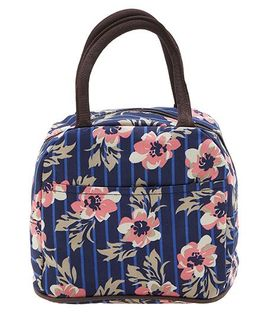 EZ Life Cute Floral Print Lunch Box Bag - Navy Blue