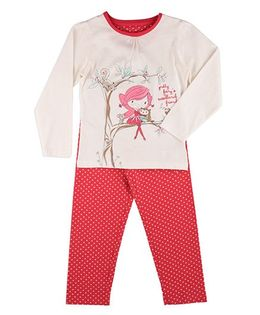 Mothercare Full Sleeves T-shirt & Lounge Pant Set Fairy Print - Off White Red