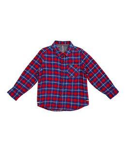 Mothercare Full Sleeves Checks Shirt - Red Blue
