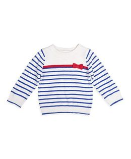 Mothercare Full Sleeves Striped Sweater With Bow - White