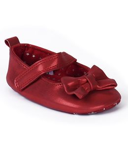 Mothercare Belly Shoes Style Booties Bow Applique - Red