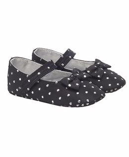 Mothercare Belly Shoes Style Booties Bow Applique - Black
